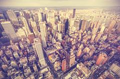 Retro old film stylized aerial picture of New York City downtown, USA. Stock Photos