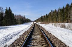 Railway track in spring forest - stock photo
