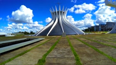 The Famous Cathedral of Brasilia, in the city capital of Brazil Stock Footage