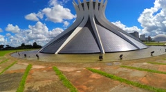 Panoramic View of Famous Cathedral of Brasilia, in the city capital of Brazil Stock Footage
