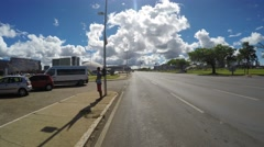 Street view in front of Cathedral of Brasilia, in the city capital of Brazil Stock Footage