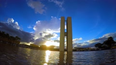 Sunset of the National Congress of Brazil in Brasilia city capital of Brazil Stock Footage
