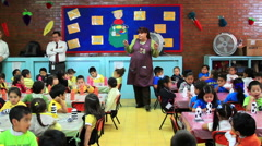 FULL SHOT. Mistress talking with children in the kindergarten. Stock Footage