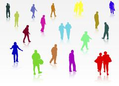 People silhouettes outdoors Stock Illustration