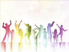 Happy children silhouettes dancing together Stock Illustration