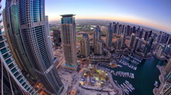 Dubai marina harbor panorama from night to day transition timelapse fisheye Stock Footage