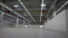 Flying through the big empty warehouse. Stock Footage