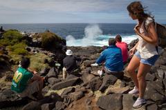 Tourists overlooking sea geyser in Espanola Island, Galapagos - stock photo