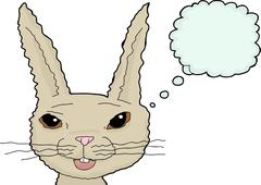 Fuzzy Cartoon Rabbit Over White Stock Illustration