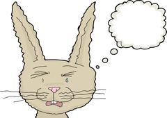 Crying Rabbit with Thought Bubble Stock Illustration