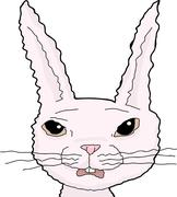 Scared Pink Rabbit Stock Illustration