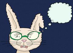 Crying Rabbit with Eyeglasses - stock illustration
