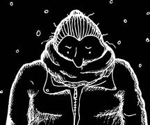 Negative Image of Woman in Coat - stock illustration