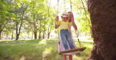 Mother playing with her little toddler girl on a swing - stock footage