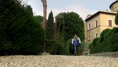 Tourist at the Vatican Gardens. Stock Footage