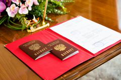 Russian passports in the registry office. - stock photo