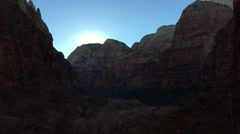 SlowMo Canyon Sunset Pan at Zion Weeping Rock (1280x720 23.976 FPS) - stock footage