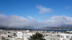 Timelapse: Fog and rainbow over the Golden Gate Bridge in San Francisco Bay Stock Footage