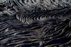 Closeup shot of lava formations in Santiago Island, Galapagos - stock photo