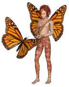 Monarch Butterfly Fairy Boy Stock Illustration