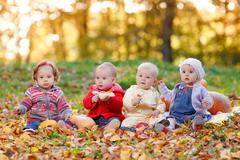 Four cheerful little baby sitting on yellow autumn leaves - stock photo