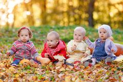 Four cheerful little baby sitting on yellow autumn leaves Stock Photos
