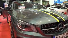 4k Mercedes sports car at Motorshow exhibition Stock Footage