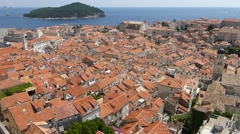Dubrovnik old town roofs with Adriatic and island in background Stock Footage