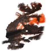 Abstract hand black, orange drawn watercolor blot insult Rorscha Stock Illustration