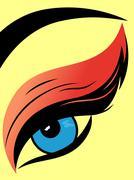 Colourful eye with fluffy eyelid close-up - stock illustration