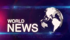 Globe abstract WORLD NEWS background Blue-red - stock footage