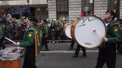 St Patricks Day Parade Dublin Band Stock Footage