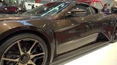 4k Luxury sports car at Motorshow automobile exhibition Stock Footage