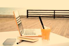 Useful digital devices warm filter applied Stock Photos