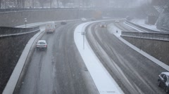 dual carriage way in the snow - stock footage