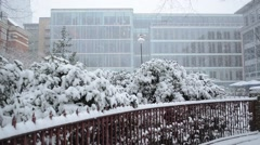 Glass tower in the snow Stock Footage