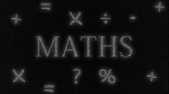 Animation of word maths made with numbers running in black background Stock Footage