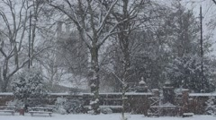 Traditional English church in the snow Stock Footage