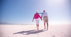 Stock Video Footage of Rear view of an elderly retired couple walking together along the beach