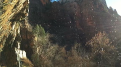 SlowMo Sunrays Through Waterfall at Zion Weeping Rock (1280x720 29.97 FPS) - stock footage