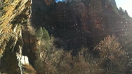 Stock Video Footage of SlowMo Sunrays Through Waterfall at Zion Weeping Rock (1280x720 29.97 FPS)