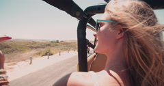 Girl friends on a summer vacation road trip together Stock Footage