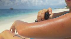 CLOSE UP: Applying sun screen Stock Footage
