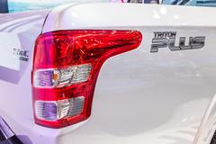 Mitsubishi Triton Plus ,Corner shape at the end of cap with rear light - stock photo