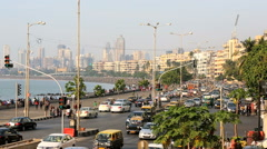 Mumbai India Marine drive city skyline travel traffic Stock Footage