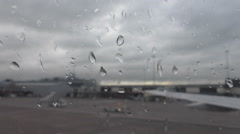Airport auto transport on a rainy day Stock Footage
