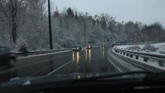 Don Mills hill exit. POV after snowstorm. Toronto, Canada. Stock Footage