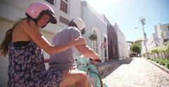 Couple on their scooter on a weekend getaway road trip - stock footage