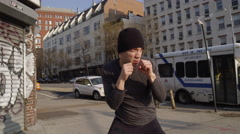 Fighter sparring Westside Highway outside slow motion 4k Manhattan NYC Stock Footage