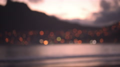 background or copy space of seaside and city at sunset - stock footage